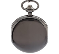 Men's Simple Cover Black Alloy Quartz Analog Pocket Watch with Chain