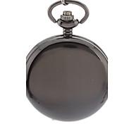 Simple couverture noire de quartz d'alliage de montre de poche analogique pour homme avec la chaîne