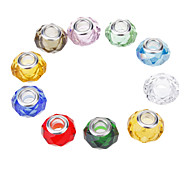 Fashion Oblate Shape Multicolor Crystal DIY Beads 10pcs