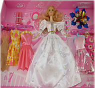 Barbie Doll Wardrobe With Seven Dresses And Accessories