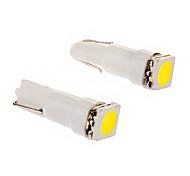T5 0.2W 1x5050SMD 10-18LM 6000K frío bombilla de luz blanca de LED para coche (12V, 2 unidades)