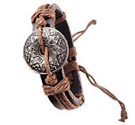 Ethnische 17cm Herren Brown-Leder-Armband (Schwarz, Braun) (1 PC)
