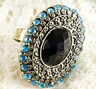 Manera europea y americana Azul marino verde menta Oval anillo de dedo del diamante