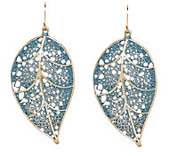 European Style Blue Hollow Leaf Drop Earrings