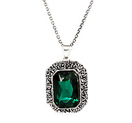 Vintage Green Gem Pendant Necklace