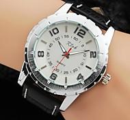 Simple Men White Black Dial Quartz Analog Business Leather Band Wrist Watch