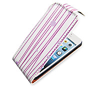 Purple Lines Up-Down Turn Over PU Leather Full Bady Case for iPhone 5/5S