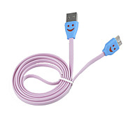 LED Smile Face Pattern Micro USB 3.0 USB Cable for Samsung Galaxy Note 3