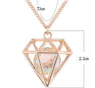 Lureme®Alloy Crystal Diamind Shape Pendant Long Necklace