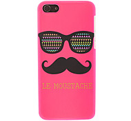 Rose-soled Lovely Glasses and Mustache Pattern Smooth Hard Case for iPhone 5C