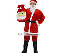 Chubby Santa Claus Red Velvet Men's Christmas Costume with Beard