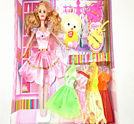 Barbie Doll Wardrobe With Five Dresses And Accessories