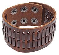 Punk 22Cm Männer-Kaffee-Leder-Armband (Kaffee) (1 PC)