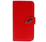 Crocodile Stripe Pattern Full Body Case with Black Mustache Button and Card Slot for iPhone 5C (Assorted Colors)
