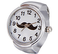Unisex Mustache Pattern White Dial Alloy Quartz Analog Ring Watch Cool Watches Unique Watches