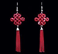 Ethnic (Line Drop) Red Alloy Drop Earrings(Red) (1 Pair)