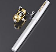 Mini vara de pesca + carretel / caneta de carbono vara de pescar à linha e carretel de combinação (cor aleatória)