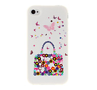 Fashion Handbag and Butterfly TPU Soft GEL Back Case Cover for iPhone 4/4S