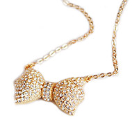 Alloy Crystal Bowknot Pendant Necklace