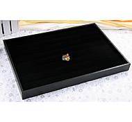 bandeja de exibição anel preto esponja madeira couro