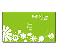200pcs Personalized 2 Sides Printed Matte Film Green Flower Pattern Business Card