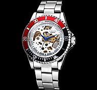 Hombres Caso Auto-Mecánica Negro y Rojo Hollow Dial Acero banda reloj de pulsera (colores surtidos)