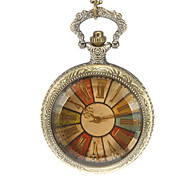 Unisex Rotating Disk Pattern Vintage Alloy Quartz Analog Pocket Watch