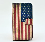 Retro US Flag Pattern PU Leather Case with Magnetic Snap and Card Slot for Samsung Galaxy S4 I9500
