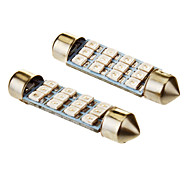 Festoon 0.8W 12x3528SMD Blue Light LED Bulb for Car (12V,2pcs)