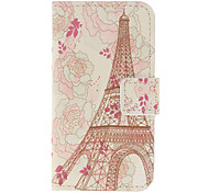 Beautiful Flowers and Eiffel Tower Pattern Full Body Case with Stand and Card Slot for iPhone 4/4S