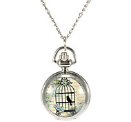 Women's Birdcage Pattern Silver Alloy Quartz Analog Necklace Watch