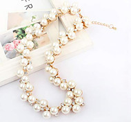 Elegante Mode Crystal & Pearl Necklace