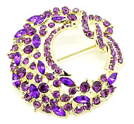 Fashion 4.8Cm Women'S Multicolor Alloy Rhinestone Brooch(Green,Blue,Purple)(1 Pc)
