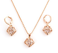 Fashion Gold Alloy (Necklace&Earrings) Gemstone Jewelry Sets(Gold)