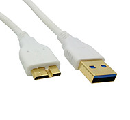 200cm Gold Connector White USB 3.0 A Male to Micro B Male Data Charger Cable for Galaxy Note3 N9000 N900