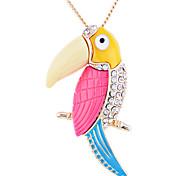 Korean Lovely Drill Owl Pendant Gold Plating Long Necklace