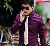 Hombres camiseta vestido de negocios Shirt Ocio Puro Top Hombres de manga larga de color de