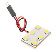 BA9S T10 Festoon 1W 6x5050SMD 6000K Cool White Light LED Bulb for Car (12V)