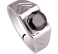 Shape Carve Band Men Real 925 Sterling Silver Ring With Cubic Zirconia