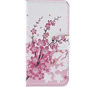 Plum Blossom Pattern PU Full Body Case with Stand and Card Slot for iPhone 5C