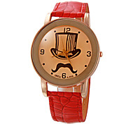 Women's Top Hat Pattern Round Dial PU Band Quartz Analog Wrist Watch (Assorted Colors)