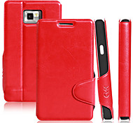 Elegant Simple Design Solid Color PU Leather Case with Stand for Samsung I9100