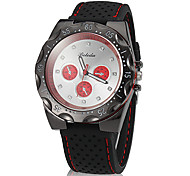 Unisex Simple Round Dial Silicone Band Quartz Analog Wrist Watch (Assorted Color)