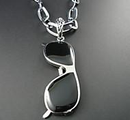 Classic (Glass Pendant) Black Fabric Pendant Necklace(Silver) (1 Pc)