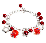 Sweet 22Cm Women'S Silver Alloy Charm Bracelet(Black,Pink,Red)(1 Pc)