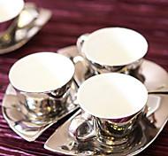 Elegant Coffee Mug with Spoon and Plate,Porcelain 3oz