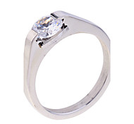 Simple Style Zircon Stainless Steel Ring