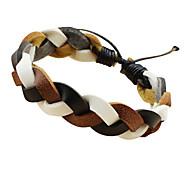 Classic 7.6cm Women's Black-White Leather Friendship Bracelet(1 Pc)