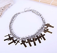 European and American retro palace hollow diamond cross necklace multilayer joker collarbone N985