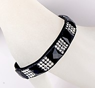 Square Diamond Ribbon Black Bracelet